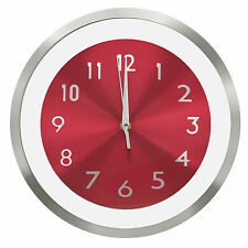 "TKF 12"" Aluminum Wall Clock with Free Floating Concentric Red Face Dial"