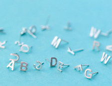 925 Sterling Silver Personalized Initial Alphabet Stud Earring - SHIPS FAST!