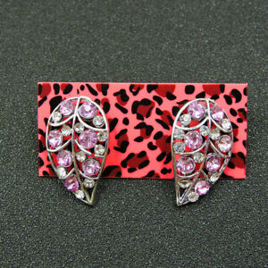 BETSEY JOHNSON'S18K WHITE GOLD FILLED SHAPED LEAF STUD EARRINGS WITH PINK TOPAZ