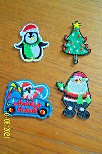 4 CHRISTMAS BADGES IRON OR SEW SANTA, SNOWMAN, XMAS TREE SANTA IN CAR CRAFT NEW