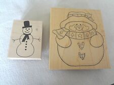 Two Wooden Rubber Snowman Stamps Scrapbooking Paper Crafts Card Making