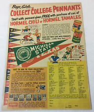 1953 Hormel premiums ad page ~ COLLEGE PENNANTS ~ Michigan State, Texas, etc