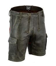 7525 Old Look Antik Leder Shorts,Zimmermann shorts,Cargo Shorts + Roten Streife