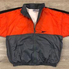 Vintage Reebok Color Block Full Zip Track Jacket Bomber Size Large - Orange/Gray
