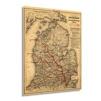 HISTORIX Vintage 1886 State of Michigan Map