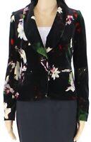 Calvin Klein Womens Blazer Jacket Black Size 2P Petite Floral Velour $149 297