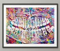 Dental Implant Art Watercolor Print Tooth Anatomical Dental Clinic Office-238