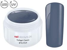 Color UV Gel LED FARBGEL GRAY BLUE French Modellage Nail Design Nagel Grau Blau