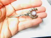 Signed Jacobite Purple Marbled Scottic Stag Head Daggar Brooch Vintage