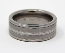 TUNGSTEN SATIN BRUSHED & POLISHED SIZE 8 GROOVED BAND RING 8.30 MM TAR477