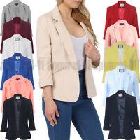 Women's Ladies Girls Celeb Inspired Tailored Blazer Collar Jacket Coat UK 8-16