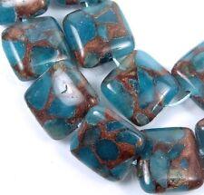 16mm Aquamarine Quartz with Pyrite / Brown Vein Square Beads (12)
