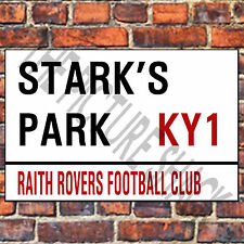 RAITH ROVERS FC STREET SIGN ON A TEA/COFFEE COASTER. STARKS PARK 9cm X 9cm