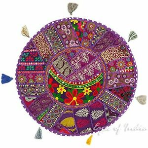 Patchwork Round Floor Pillow Indian Handmade Vintage Cushion Cover Throw