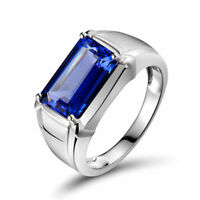 22K Solid White Gold Natural Tanzanite Gem Stone Men's Ring Jewelry