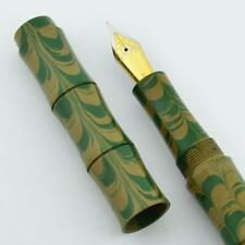Ranga Ebonite Bamboo Fountain Pen - Green Yellow Ripple Ebonite, JoWo Nibs (New)