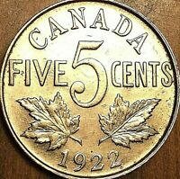 1922 CANADA 5 CENTS COIN - Excellent example !