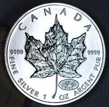"""2000 Silver Maple Leaf - 1 oz. .9999 Fine Silver - 5 Dollars - """"Fireworks"""""""