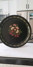Vintage Black Tole Round Tray With Strawberries