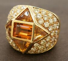 Designer hallmarked heavy 18K gold 10.5CTW diamond/citrine cluster cocktail ring