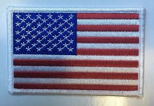 """AMERICAN FLAG EMBROIDERED PATCH WHITE BORDER US UNITED STATES 3.5""""  free ship"""