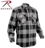 Grey & Black Plaid Men's Heavyweight Brawny Buffalo Flannel Shirt Rothco 4690