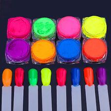 New 8 x Pot Set Neon Pigment Powders For Nail Art Decoration Manicure, UK Seller