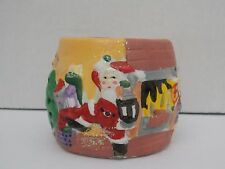Giftco Christmas Votive Candle Holder ~ Santa by the Fireplace * Nib