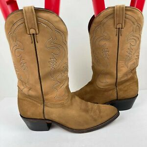 Men's Cowboy Boots Boulet Canada US 11.5 E Western Tan Suede leather Embroidered