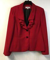 Jones Studio Womens 16 Jacket Red Blazer Lined Flounce Collar Ruffle
