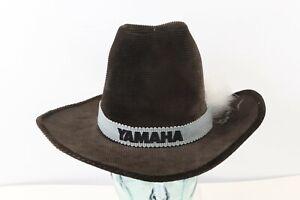 Vintage 70s Yamaha Motor Company Spell Out Corduroy Cowboy Hat Brown USA Medium