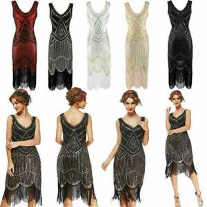 1920s Flapper Dress Great Gatsby Charleston Sequins Beaded Fringe Fancy Dress