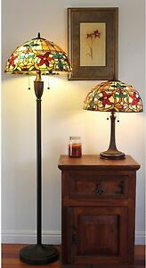Lamp Set Table & Floor Tiffany Style Red Green Amber Floral Stained Glass Shade