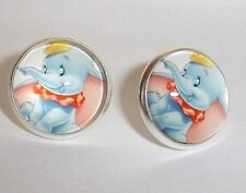 DUMBO THE BABY ELEPHANT GLASS SILVER PLATED STUD EARRINGS IN GIFT BAG