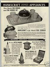 1938 PAPER AD 2 PG Hankscraft Electric Egg Cooker Service Breakfast Set
