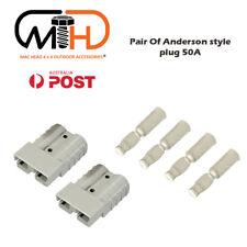 Pair Anderson Style Plug connector 50AMP Caravan Trailer Solar 6AWG GREY AU