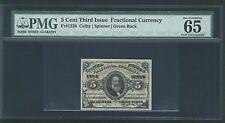 1864-69 FR-1238 5 CENT FRACTIONAL CURRENCY CERTIFIED PMG GEM UNCIRCULATED 65-EPQ