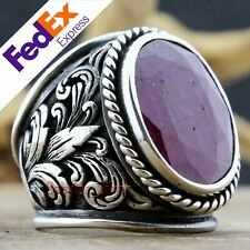 Natural Ruby Stone 925 Sterling Silver Turkish Men's Ring 9.5 US Free Resize