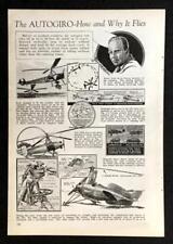 1935 AUTOGIRO Gyroplane History Juan de la Cierva original vintage pictorial