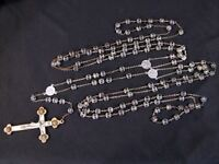 Antique WEDDING LASSO DOUBLE ROSARY - CAPPED CRYSTALS