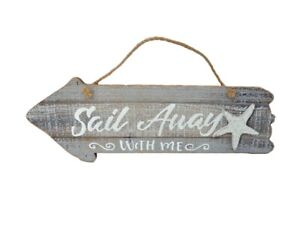 Shabby Chic Sail Away With Me Rustic Hanging Nautical Beach House Sign