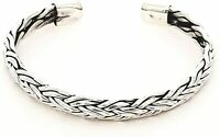 Men's 925 Sterling Silver Braided Open Cuff Bangle for Men
