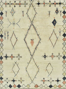 Moroccan Beni Ourain Rug, 10'x14', Ivory, Hand-Knotted Wool Pile