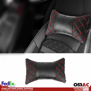 1x Car Seat Neck Pillow Head Shoulder Rest Pad PU Leather Black and Red Stitches