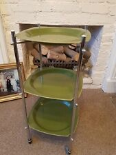 Vintage 1960s, 1970s Three Tier Drinks Trolley Chrome And Green Plastic Rare