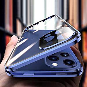 COVER per iPhone 12 /Pro Max Mini Alluminio MAGNETICA 360 DOPPIO VETRO TEMPERATO