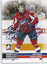 Greg NEMISZ Signed 09/10 Heroes and Prospects Card