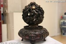 Chinese Folk  tradition feng shui red bronze nine Dragon luckiness ball Statue