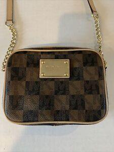 MICHAEL KORS JET SET Brown Signature Bag Purse Chain Crossbody Messenger MINI