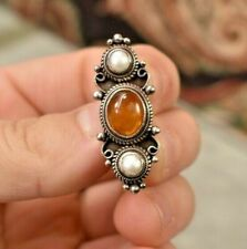 pearl amber cabochon small brooch Vintage Etruscan 925 sterling silver natural